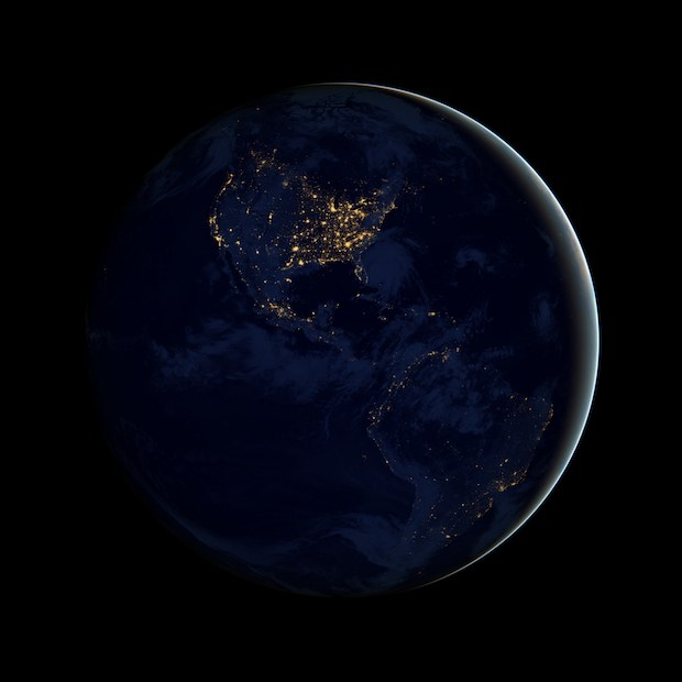 Earth at night, Americas