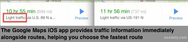 Google Maps traffic info shown in route