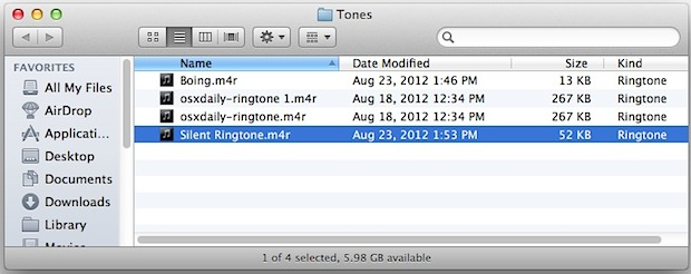 iPhone ringtone folder