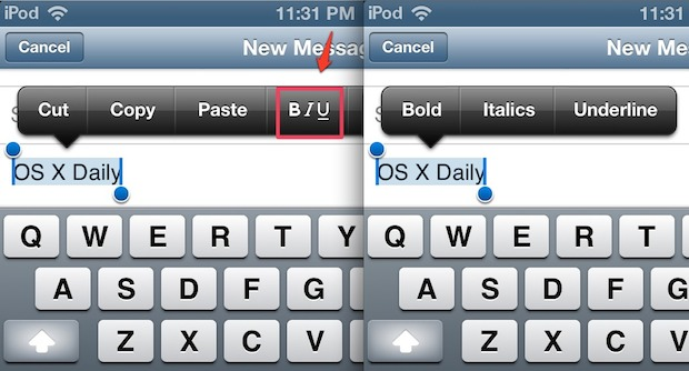Make text bold, italic, or underline in iOS Mail