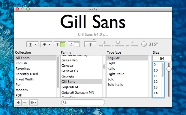Preview Mac Fonts quickly and easily with the Fonts Panel