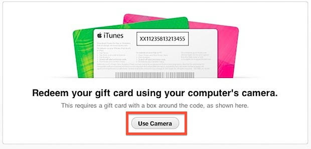 Redeem app store gift card with a camera