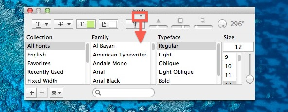 Reveal Font Previews in OS X
