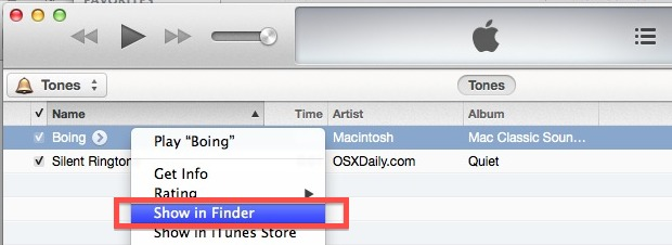 Show the ringtone location quickly with iTunes