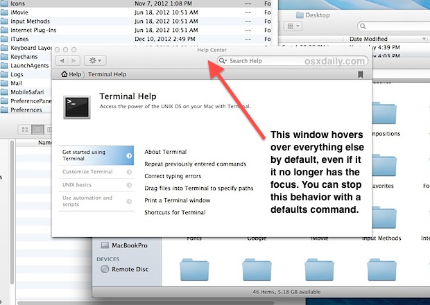 Stop the hovering Help viewer in Mac OS X