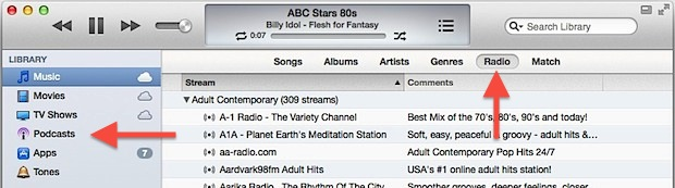 Stream Radio and Access Podcasts in iTunes 11 and later