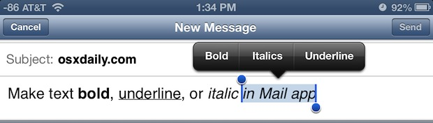 Style text in iOS Mail