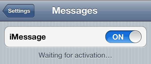 Waiting for Activation error in iMessage