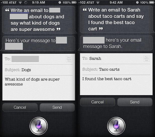 Write and send a complete email with Siri