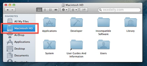 Add Root Folder to the Finder Sidebar in Mac OS X