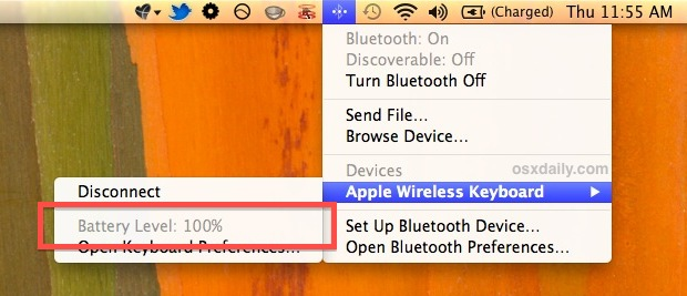 Bluetooth device battery level as shown in the menu bar item