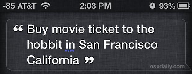Buy a movie ticket with Siri
