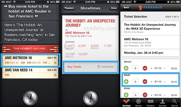 Buy movie tickets with Siri and Fandango