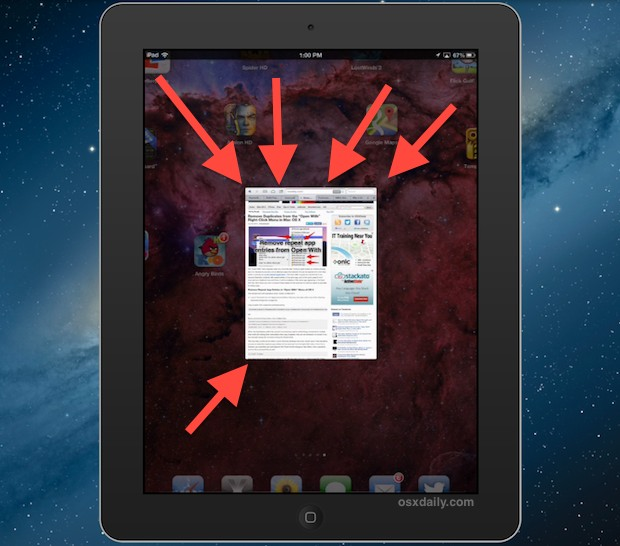 Close app gesture on iPad