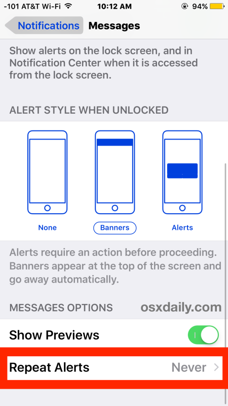 Disable repeating message alerts on iPhone