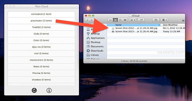 Easy iCloud File access with Plain Cloud app for OS X