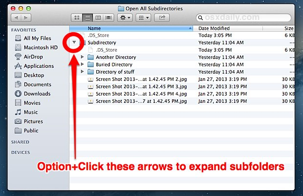 Expand subfolders in OS X Finder