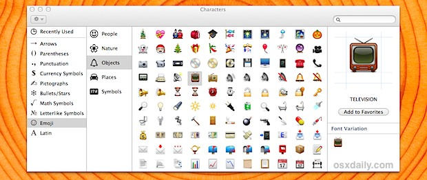 Fast Emoji access in Mac OS X