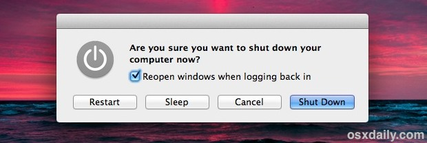 OS X Power controls for sleep, restart, shut down, etc