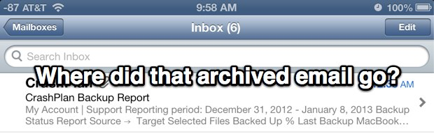 Find archived email in iOS