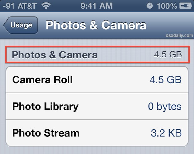 How much space photos are taking up on iPhone