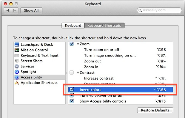 Enable the Invert Display Colors keyboard shortcut