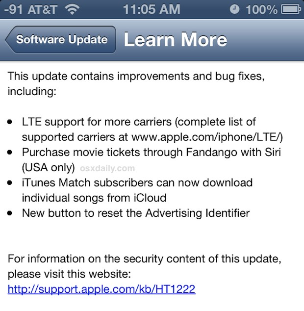 iOS 6.1 Update Release Notes