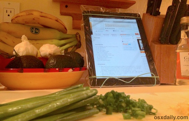 Cooking with an iPad, using a zip lock bag as screen protection