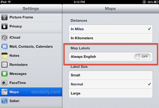 Change Maps language settings