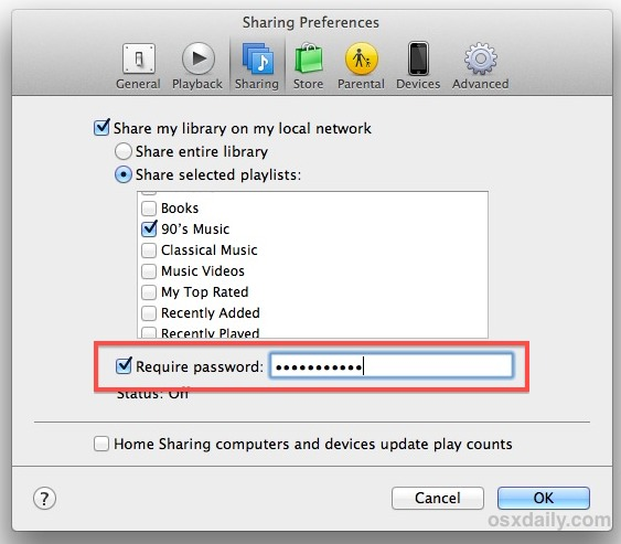 Add Password Protection to iTunes Sharing