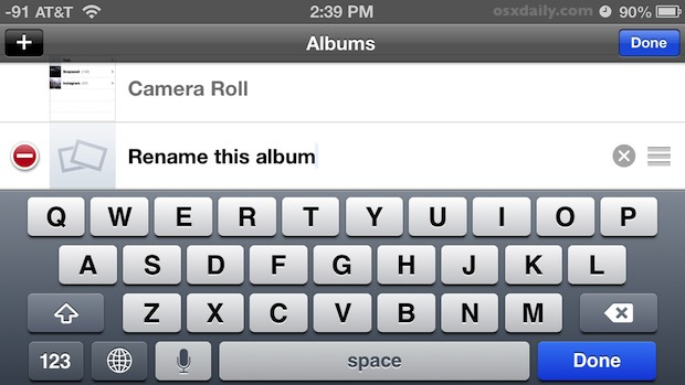 Rename a photo album on iPhone and iPod touch