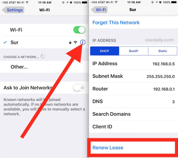 Get A New Ip Address On Iphone Or Ipad By Renewing Dhcp Lease Osxdaily
