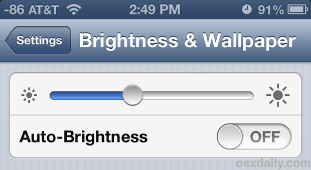 Change the Screen brightness on iPhone