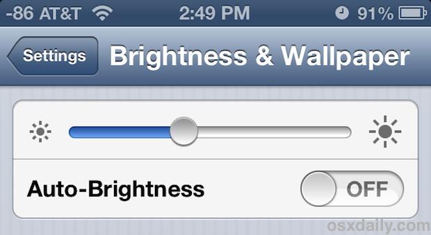 Change the Screen brightness on iPhone