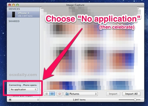 Stop iPhoto launching automatically when Iphone connected