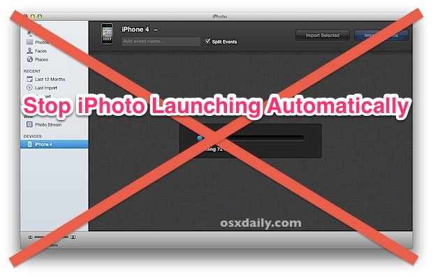 Stop iPhoto from opening automatically