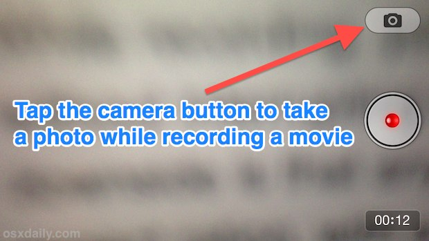 Take a photo while recording video on the iPhone