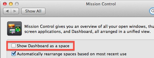 Turn off Dashboard as a space