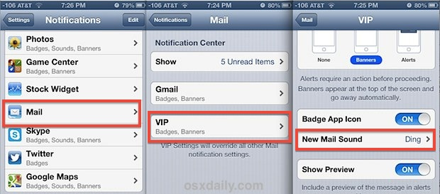 Set custom VIP Mail alert and notifications in iOS