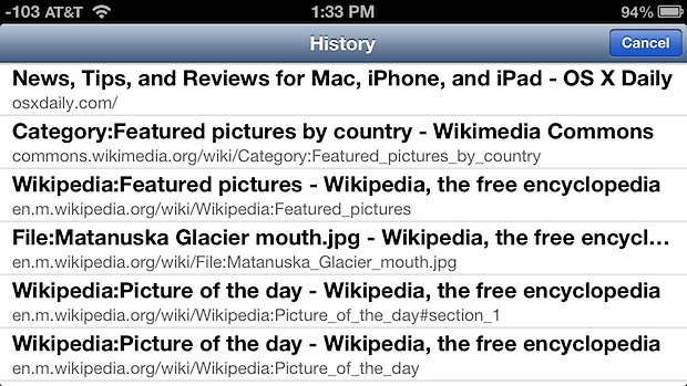 Viewing browser history on iOS Safari