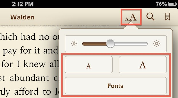 Change font sizes and text in iBooks