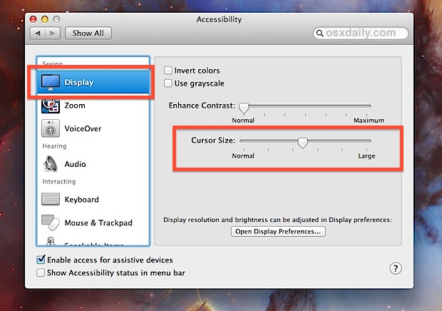 Cursor Size slider in OS X