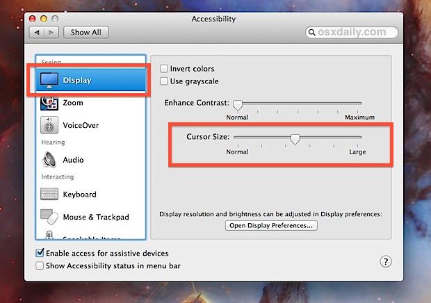 Cursor Size slider in OS X