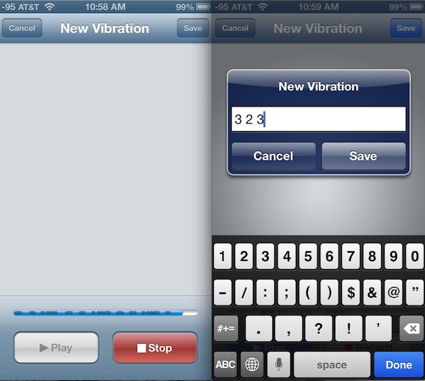 Create and save a custom vibration alert for contacts