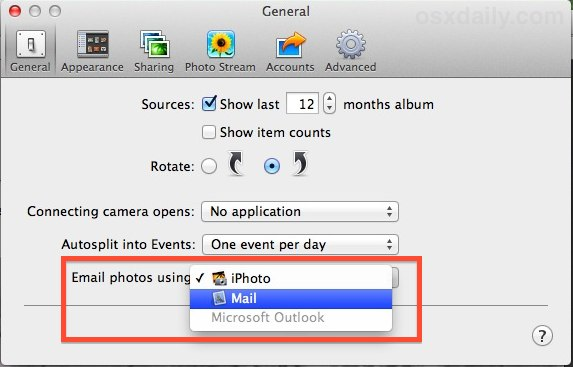 Email photos from iPhoto with Mail app