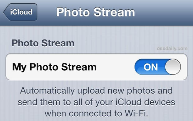 Enable Photo Stream on iPhone