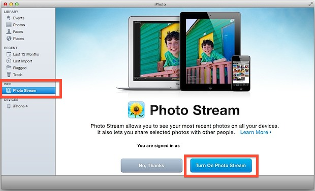 Enable Photo Stream support in iPhoto for Mac OS X