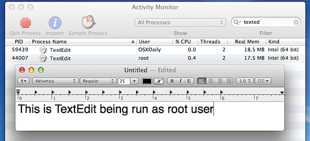 GUI application running as root user in Mac OS X