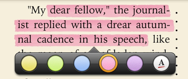 Highlighting words in iBooks