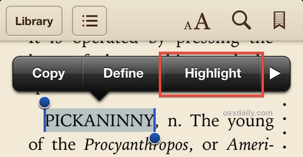 Highlight text in iBooks